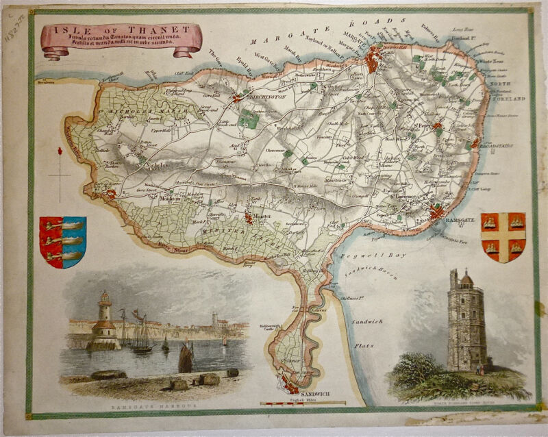 c.1840 Genuine Antique hand colored map of the Isle of Thanet, England. Moule