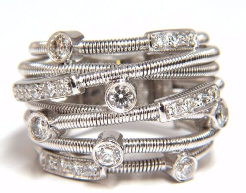 1.10ct Natural diamonds Multi Crossover Ring 18kt. Coil wrap Bands
