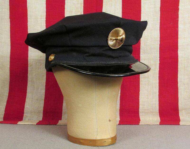 Vintage Antique Firefighters Wool Gab Hat Visor Cap Fire Dept.Brass Front Badge