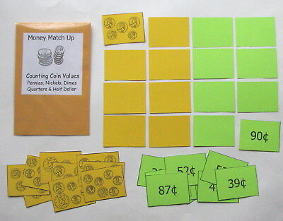 Teacher Made Math Center Educational Learning Resource Game Money Match Up - Learning Money Games