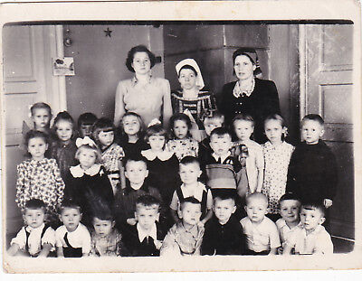 1950s Kindergarten children boys girls women fashion old Russian Soviet photo