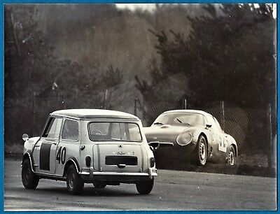 large vintage photo Alfa Romeo Giulietta SZ Zagato Mini race car auto foto 1962