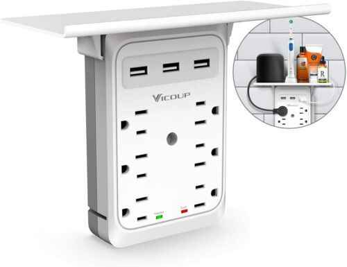 Outlet Shelf Surge Protector Wall Expander Socket with 3USB 6AC Outlet Adapter
