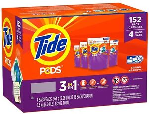 Tide Pods Laundry Detergent -Spring Meadow- Stain Remover + Brightener (152 ct.)