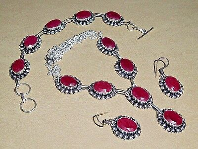ARTISAN NATURAL RAW CUT RUBY 925 SILVER NECKLACE EARRINGS & BRACELET SET ~ 3 PCS