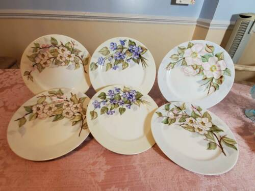"""E Kerner Set of 6 Salad Plates Flower Branches and Leaves Made in Japan 7 1/2"""""""