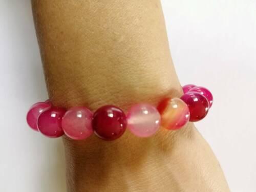 Handmade Natural Agate Pink Lucky Stone Bangle Beads Stretchy Bracelet Gemstone