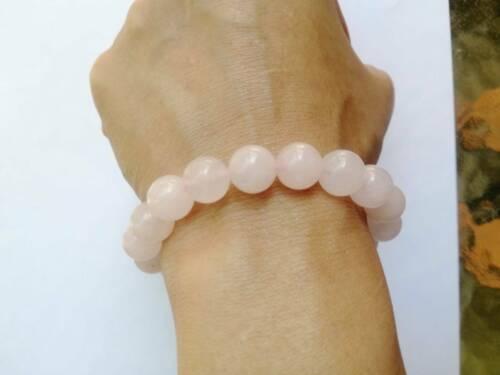 Handmade Natural Rose Quartz Lucky Stone Bangle Beads Stretchy Bracelet Gemstone