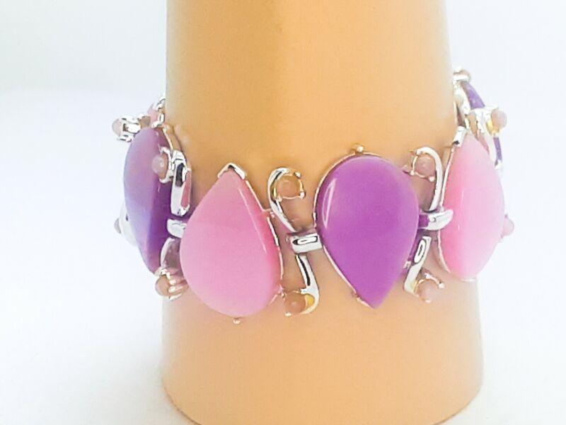 Vintage Lavender Moon Glow Enamel Leaf Thermoset Silver Link Bracelet