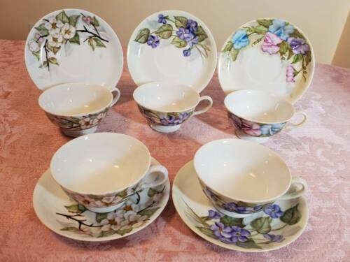 """E Kerner Set of 5 Tea Cups and Saucers Branches and Leaves Made in Japan 7 1/2"""""""