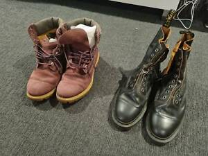 Dr martens and timberland boots size 8, 9