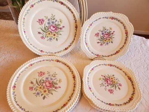 8 Pcs Royal Gadroon Harker Oldest Pottery Scalloped Dinner Plates & Salad Plates