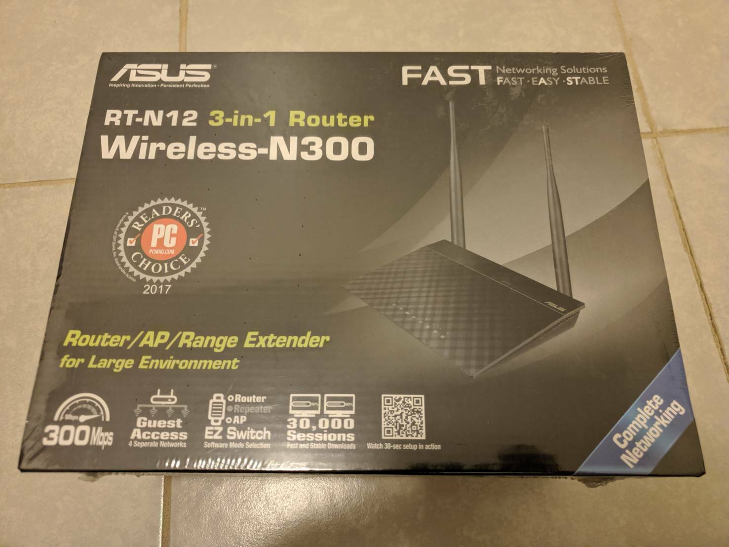 ASUS RT-N12 N300 Wi-Fi Router 2T2R MIMO Technology/ 4K HD Vi