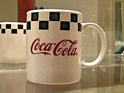 1996 Coca Cola Ceramic Mug by Gibson - Checker Pattern Red, Black & White -
