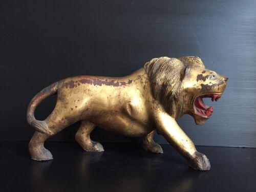 Antique Burmese wood carved temple Lion Nat figure