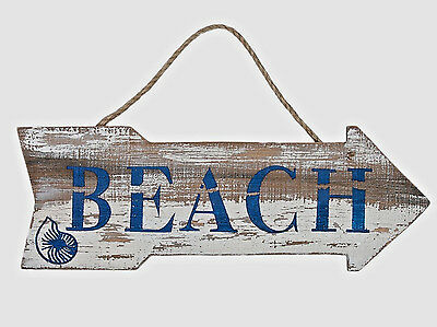 Beach Arrow Sign Distressed Weathered Nautical Wall Wood Plaque Coastal Decor