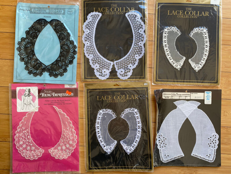 LOT OF 6 VTG LACE COLLARS WOMEN MINT CONDITION IN ORIG PACKAGE