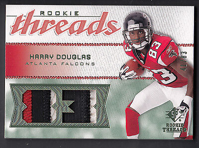 Harry Douglas 2008 SP Rookie Threads Jersey Number 3 Color Patch Card 41/83 Autographed Atlanta Falcons Jersey Numbers