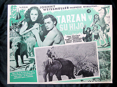"JOHNNY WEISSMULLER ""TARZAN FINDS A SON"" MAUREEN O'SULLIVAN NMINT LOBBY CARD 1939"