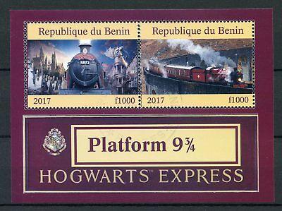 Benin 2017 CTO Hogwarts Express Platform 9 3/4 2v M/S Trains Harry Potter Stamps