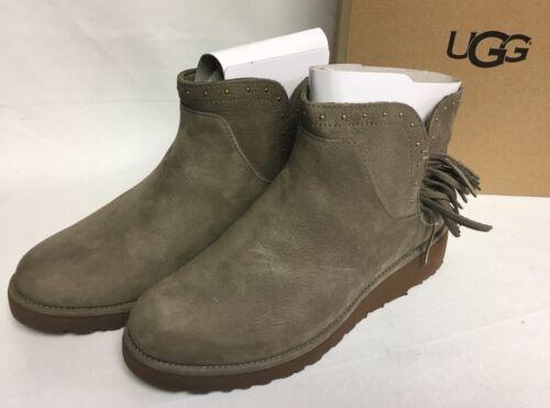 1810d330c26 Женские угги Ugg Australia Cindy Fringe Spruce Womens Leather Ankle Boots  Fringe 1019063