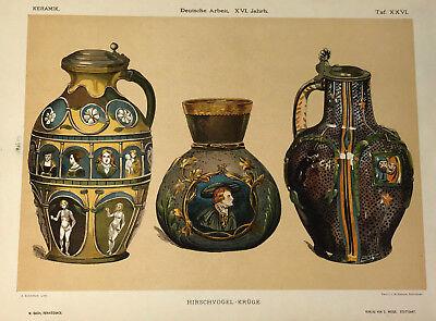 ORIGINAL c.1880 LITHOGRAPH - Renaissance Bach Revival Pottery Steins HIRSCHVOGEL