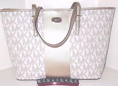Michael Kors Jet Set Gold Center Stripe Vanilla Signature Carryall PVC Tote Bag