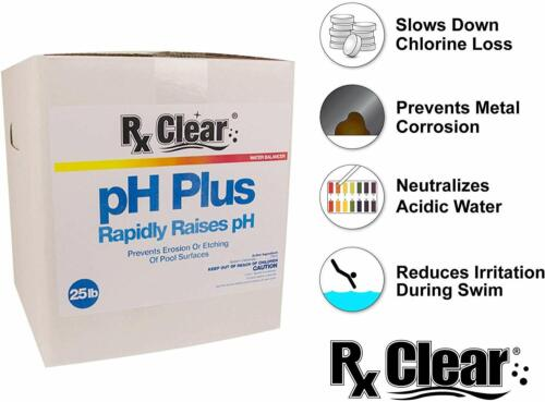 Rx Clear pH Plus Increaser Granular Soda Ash Chemical For Swimming Pool - 25 lbs