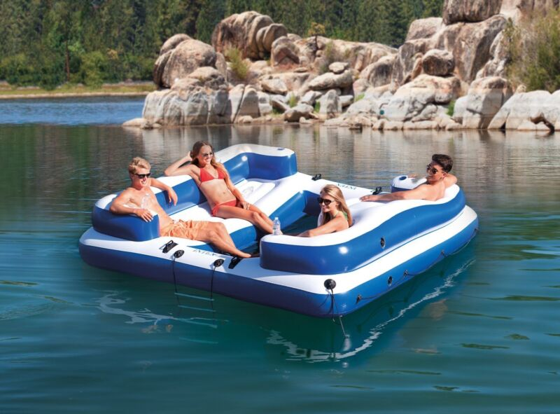 Intex Sport Inflatable Floating Oasis Island Lounge Blue and White 58923EP