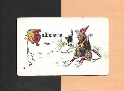 WITCH PLAYS MANDOLIN, BLACK CAT, OWL On Spooky Unused Vintage HALLOWEEN Postcard](Halloween Witchs)