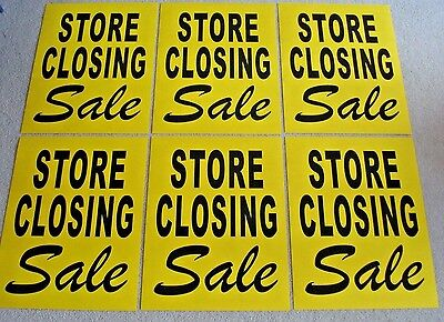 6 Store Closing Sale Window Signs 17.5 X 23 Black On Yellow Paper