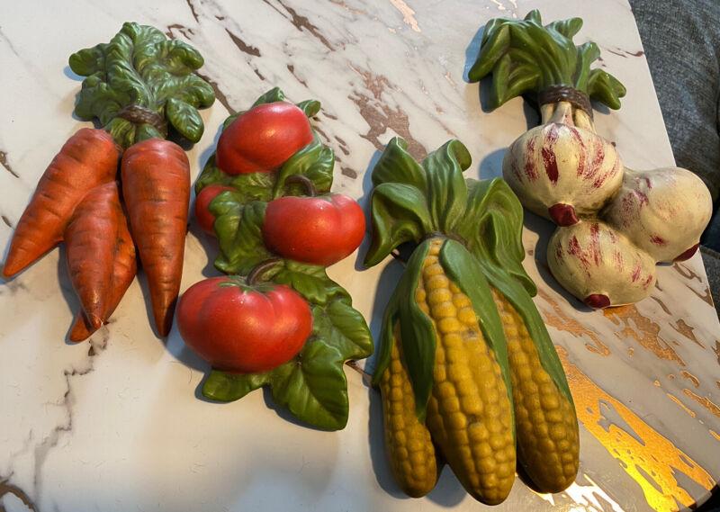 4 Vtg Ceramic Vegetable Wall Hangings Corn Tomato Onion Carrot Elaine & Paul