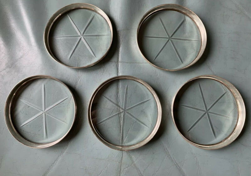 """Lot (5) Vintage 3"""" Sterling Silver and Etched Glass Coasters"""