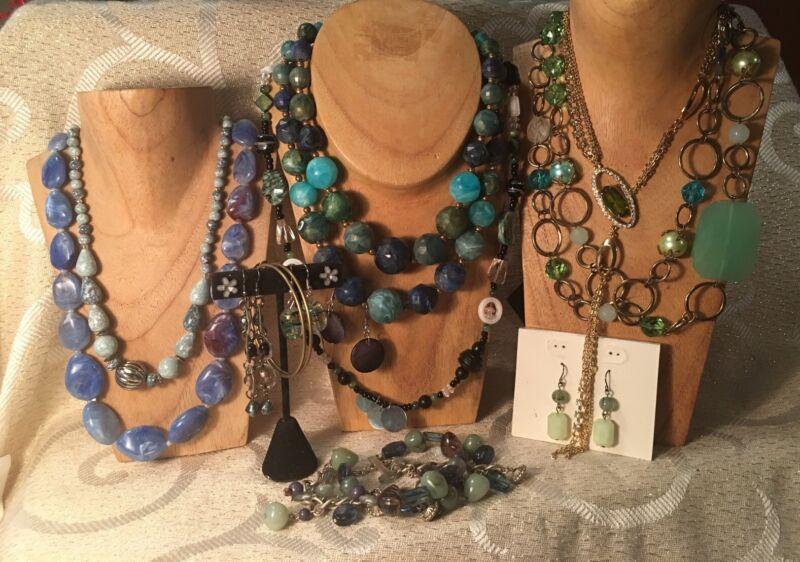BLUE/GREEN SEA Color Jewelry Lot ~ Vintage-Now *Necklaces*Bracelets*Earrings a50