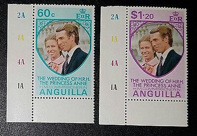 Anguilla 1973 Royal Wedding SG165/6 Princess Anne MNH (No1605)
