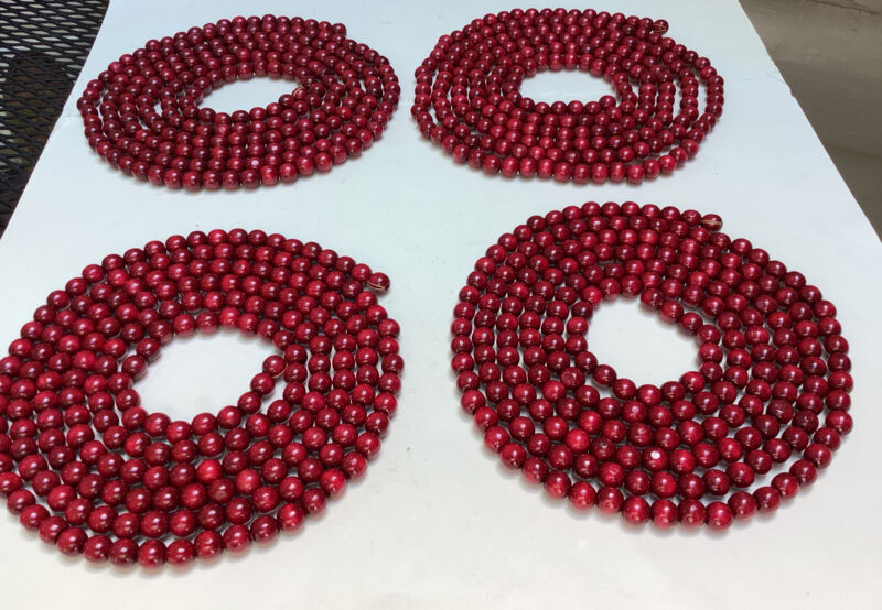 4 Strands Wooden Cranberry Red Beads Christmas Tree Garland 36 Total Feet