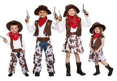 Cowboy Kinder Cowgirl  Western Komplett Kostüm Weste Hemd Chaps Hut Fasching  ()