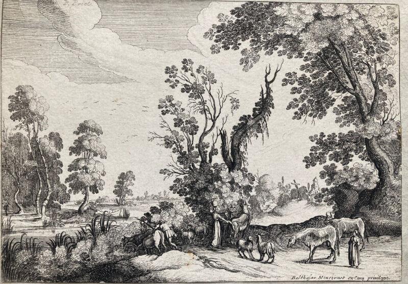 Balthasar Moncornet Landscape Engraving 17th Century Etching Rare Old Master