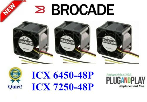 3x Quiet Replacement Fans for Brocade ICX 6450-48P ICX7250-48P