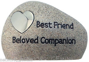PET MEMORIAL STONE PLAQUE HEADSTONE - CAT & DOG - HEART SHAPE - FREE ENGRAVING