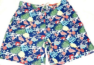 NEW MENS LARGE UNDER THE OCEAN NAVY NAUTICA SWIM TRUNKS BOARD SHORTS W/ LINER