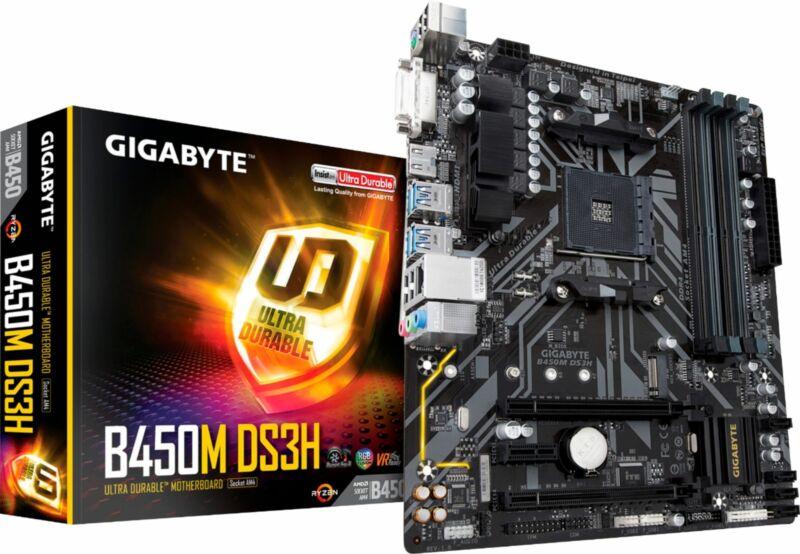 GIGABYTE - B450M DS3H (Socket AM4) USB 3.1 Gen 1 AMD Motherboard with LED Lig...