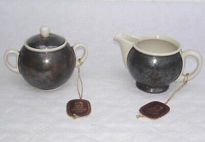 WMF Metall Porzellan - Milch & Zucker Set um 1950 - Milchkännchen