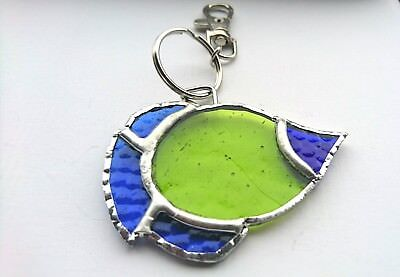 Tropical Fish Stained Glass (Handmade Stained Glass Green / Blue Tropical Fish Keyring/chain - Unique Gift)