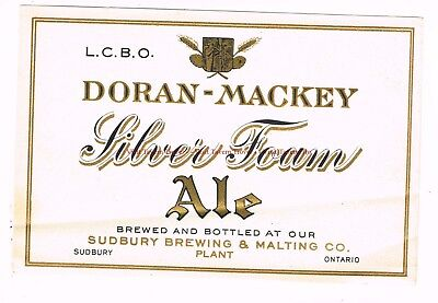 Unused 1930s Doran-Mackey Silver Foam Ale Sudbury Ontario CANADA Beer Label
