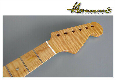 Stratocaster One Piece Roasted Curly Flamed Maple Neck, Abalon Dots 22 Frets...