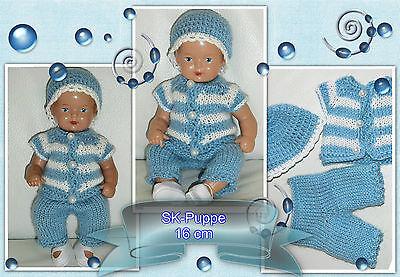 3-tlges Set : Jacke +Hose + Mütze  für SK Strampelchen , Baby  Puppen 15-17 cm