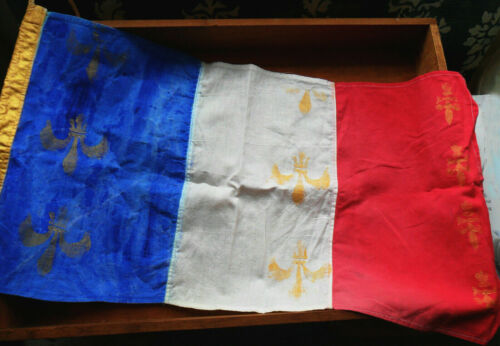 Vintage French FLAG / Banner w/ Gold Fleur de Lis, Blue Painted & Gold Details