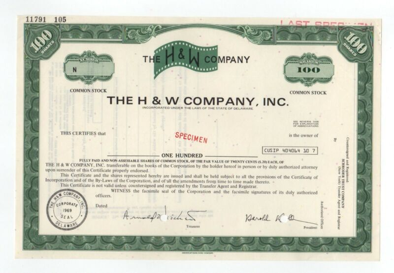 SPECIMEN - The H & W Company, Inc. Stock Certificate