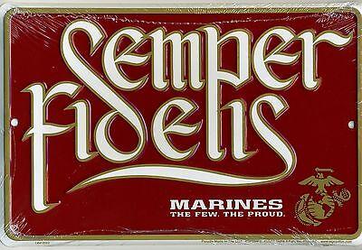 MARINES SEMPER FIDELIS METAL SIGN Aluminum Parking Plaque NEW Embossed USMC 12x8